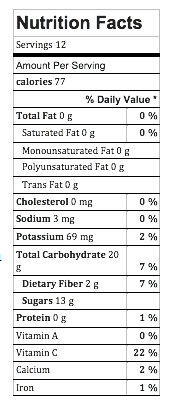 Image of nutrition facts for tart cranberry compote
